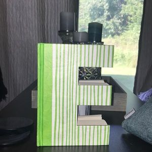 Other - White & Green striped letter E notebook/decor🌿🌻